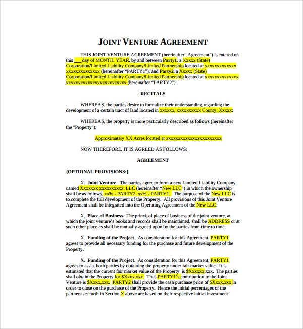 Joint Venture Agreement Sample