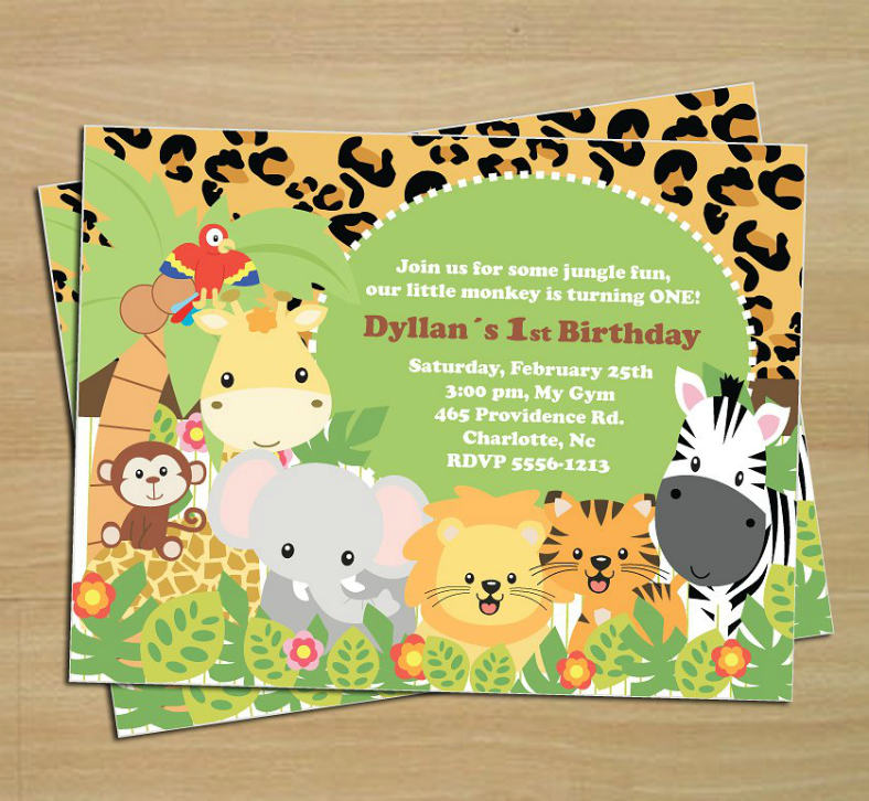 Jungle Themed Birthday Invitation Template