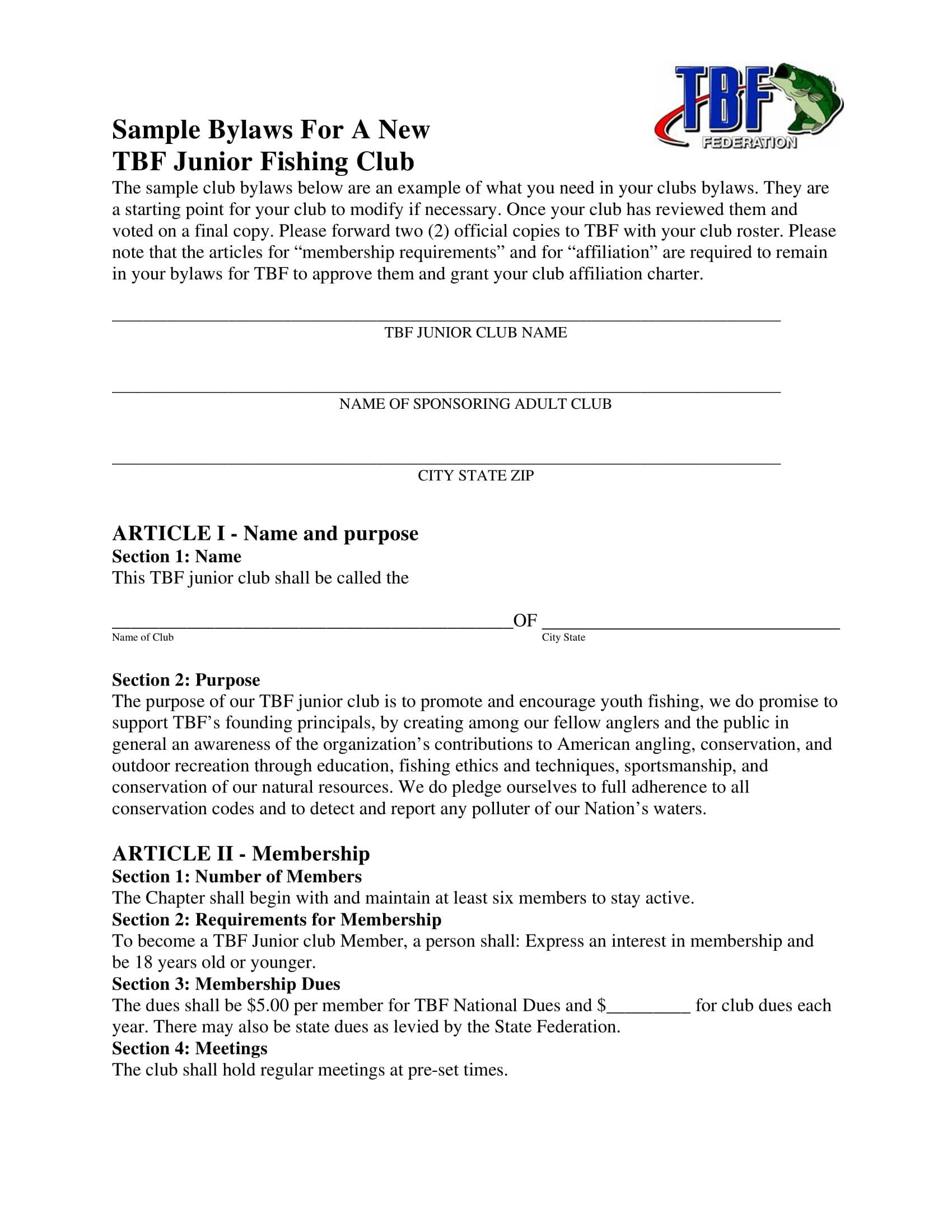 junior fishing club bylaw sample