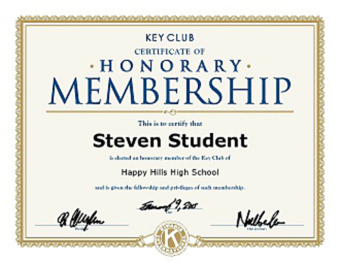 key club honorary membership certificate