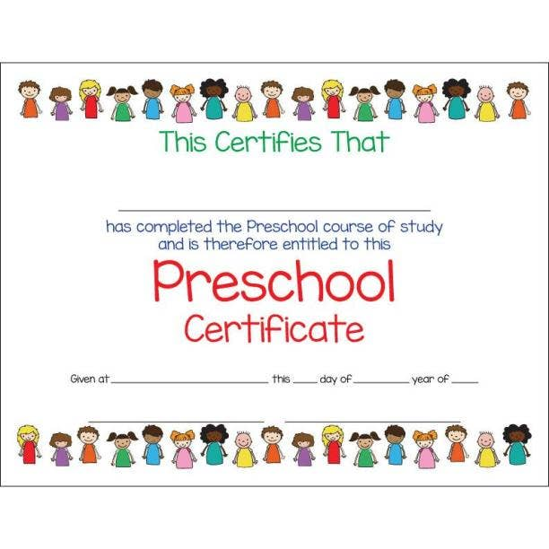 kids united preschool certificate template