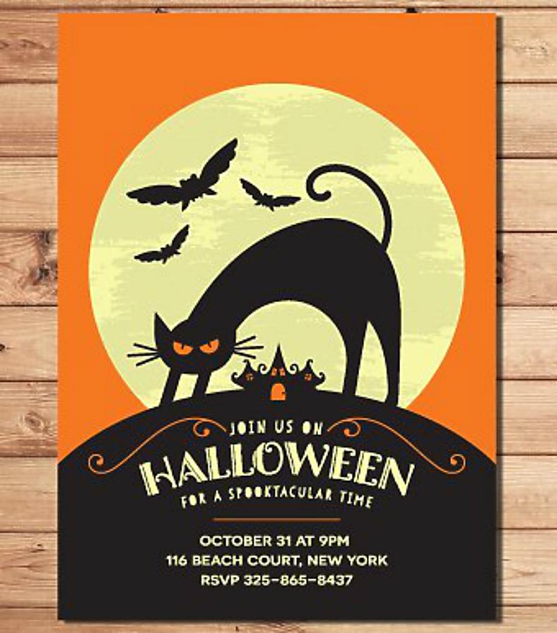 Kitty Silhouette Halloween Invitation Template