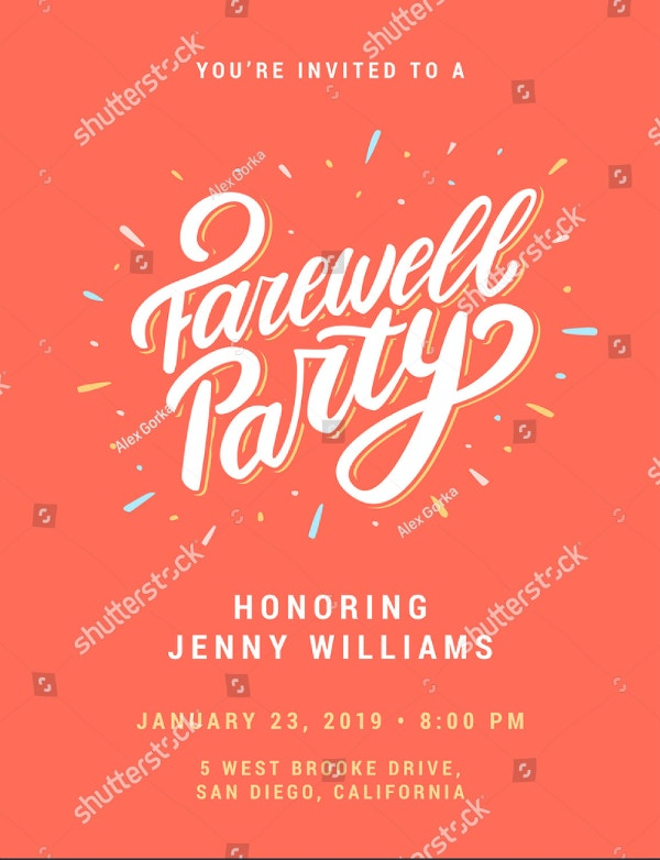 large typographic farewell party invitation