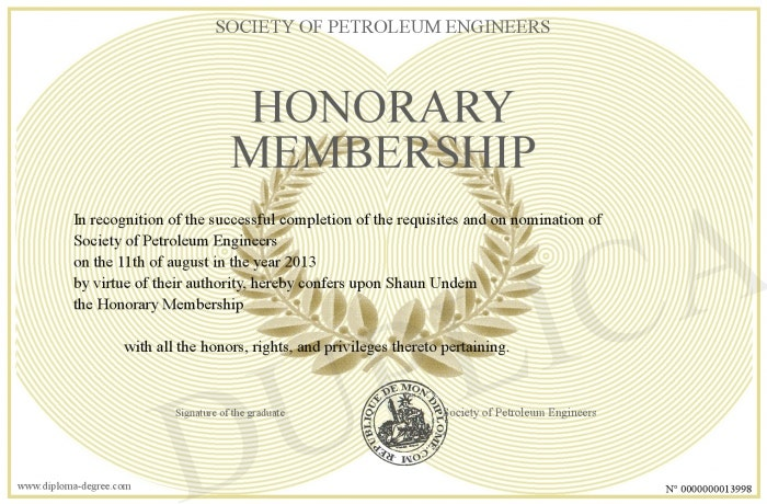 laurel wreath honorary membership certificate