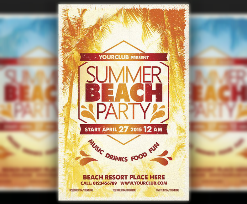 Layered Modern Beach Party Flyer