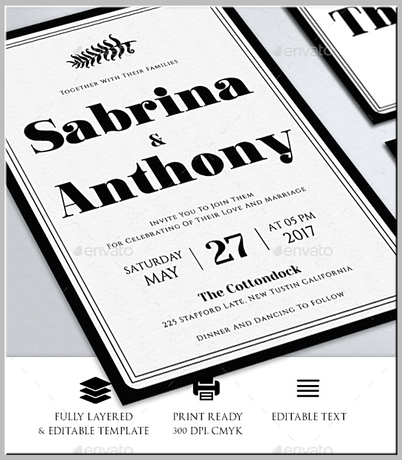 Layered Wedding Invitation Format Template