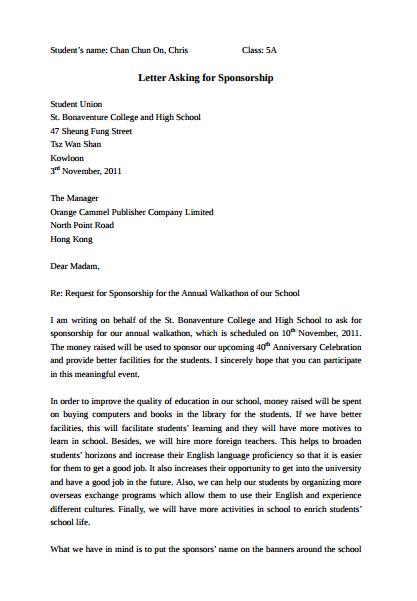 letter asking for sponsorship