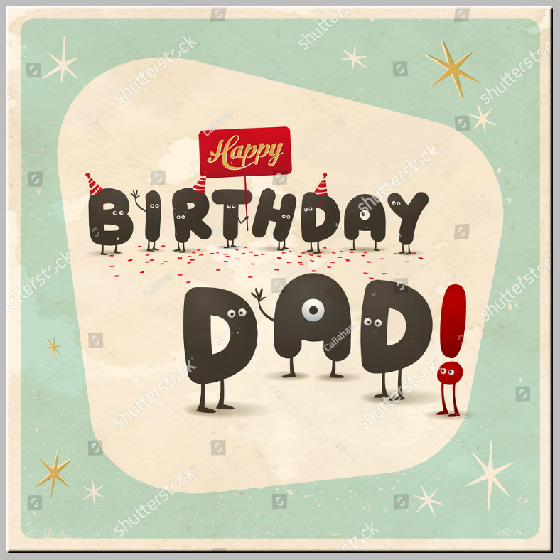 Letter Characters Dad Birthday Card Template