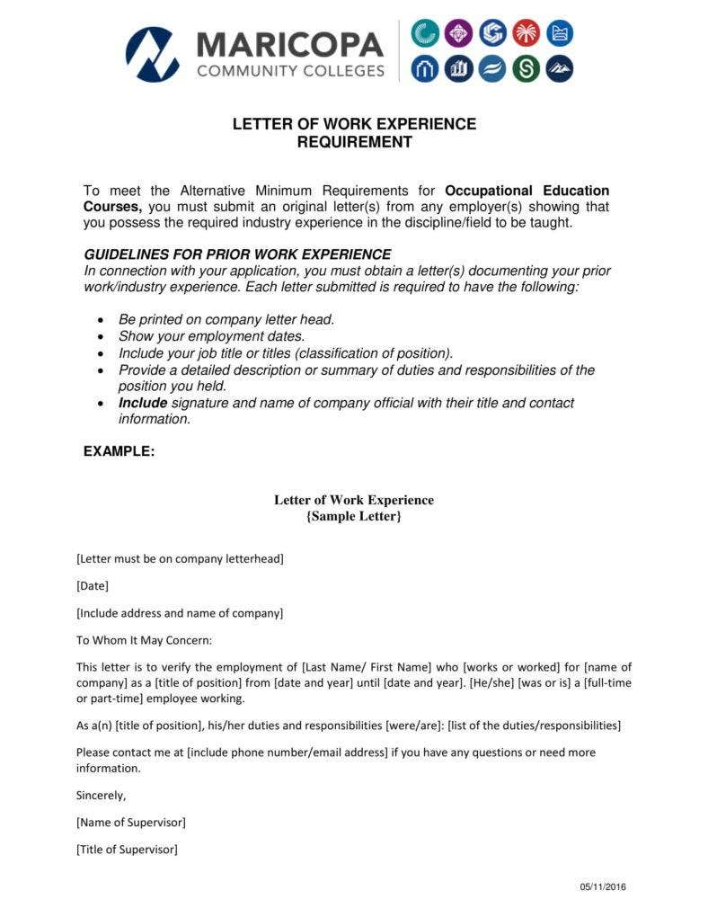Letter For Work Experience