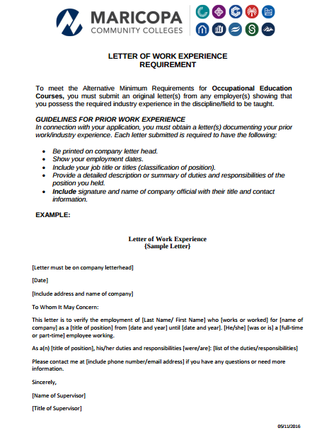 Letter Of Work Experience Requirement