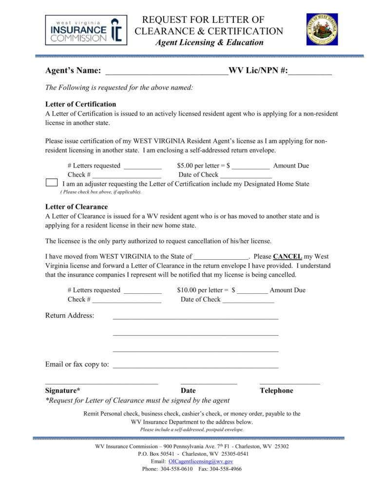 Letter of Clearance and Cert request