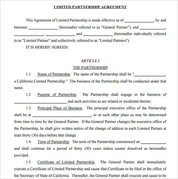 7 Limited Partnership Agreement Templates Pdf Free Premium