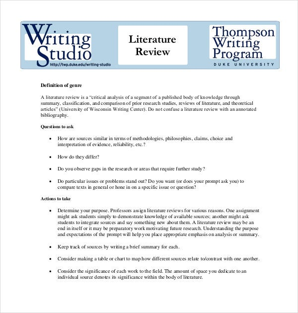 9+ Literature Review Outline Templates, Samples | Free & Premium ...