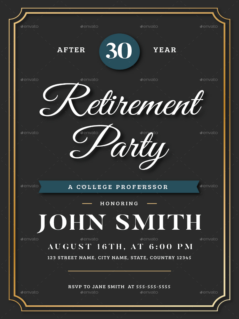 luxurious retirement party invitation template 788x1050