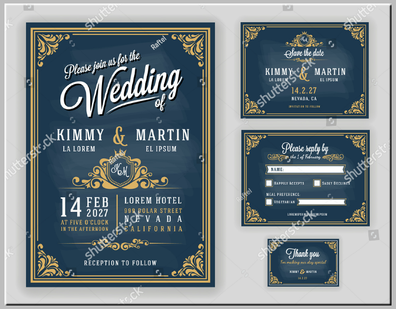 luxurious wedding invitation format template 788x614
