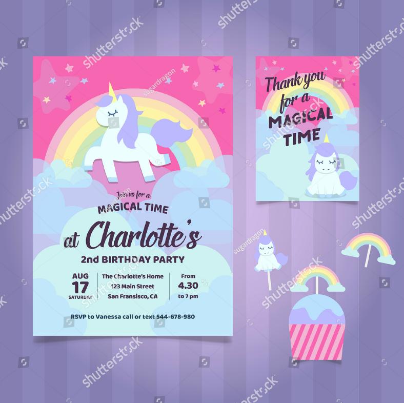 magical unicorn birthday invitation format 788x786