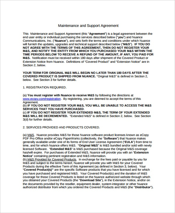 maintenance and support agreement