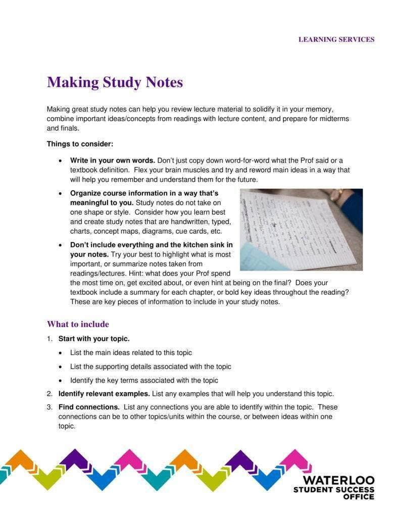 Making Study Notes Template
