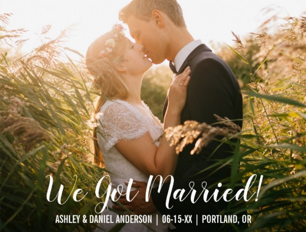 Married Elopement Announcement Postcard