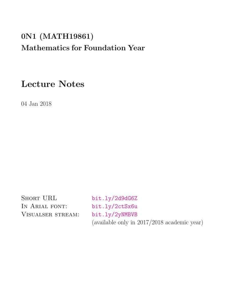 Mathematics Lecture Notes Template