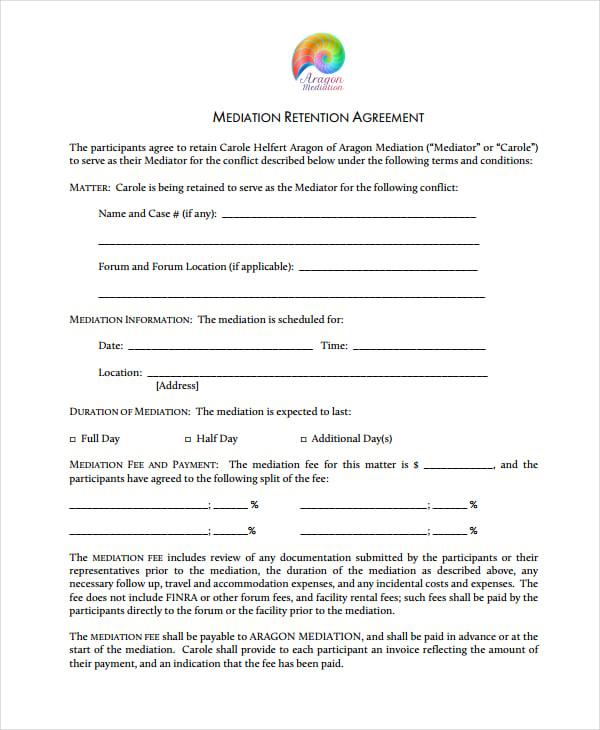mediation retention agreement