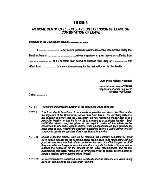 11+ Medical Certificate Templates for Leave - PDF, DOC | Free