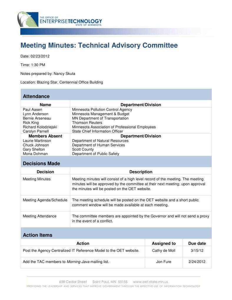 meeting minutes for technical advisory 788x1020