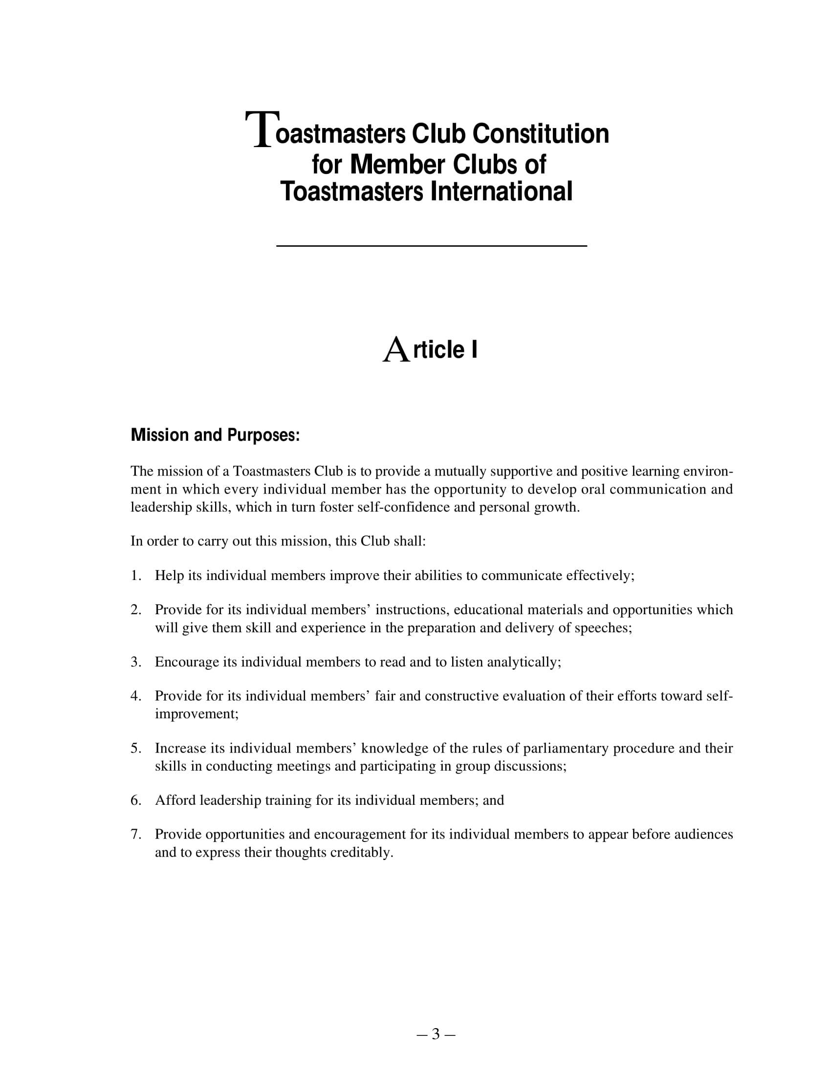 member club constitution and bylaw template