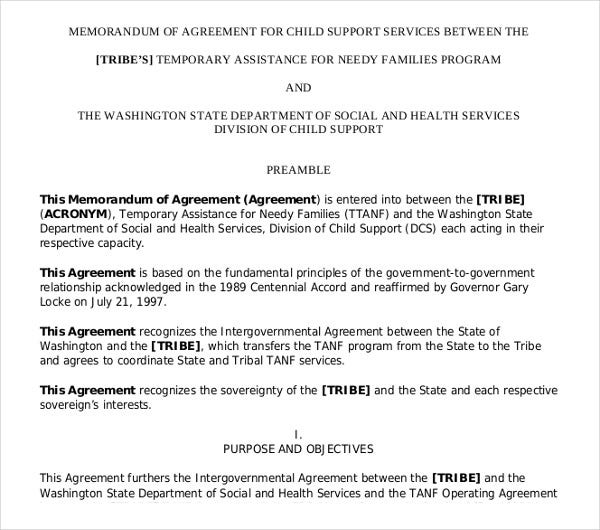 memorandum agreement for child support