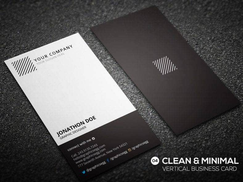 11 vertical business card designs templates psd ai indesign minimal vertical business card template accmission Images
