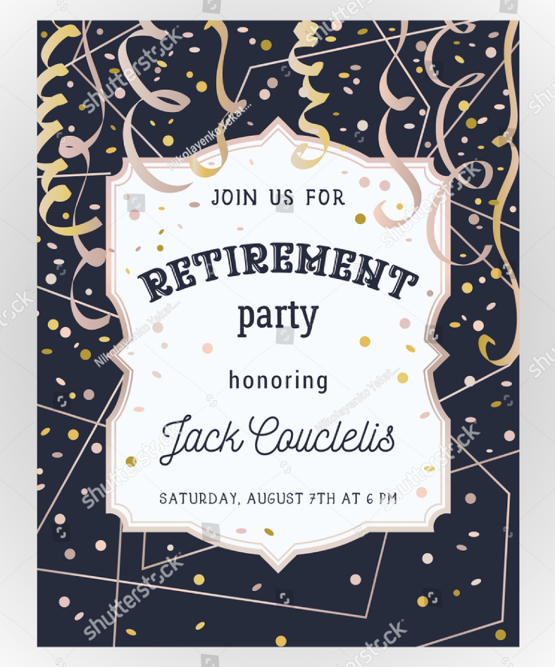 minimalist retirement party invitation template 788x947