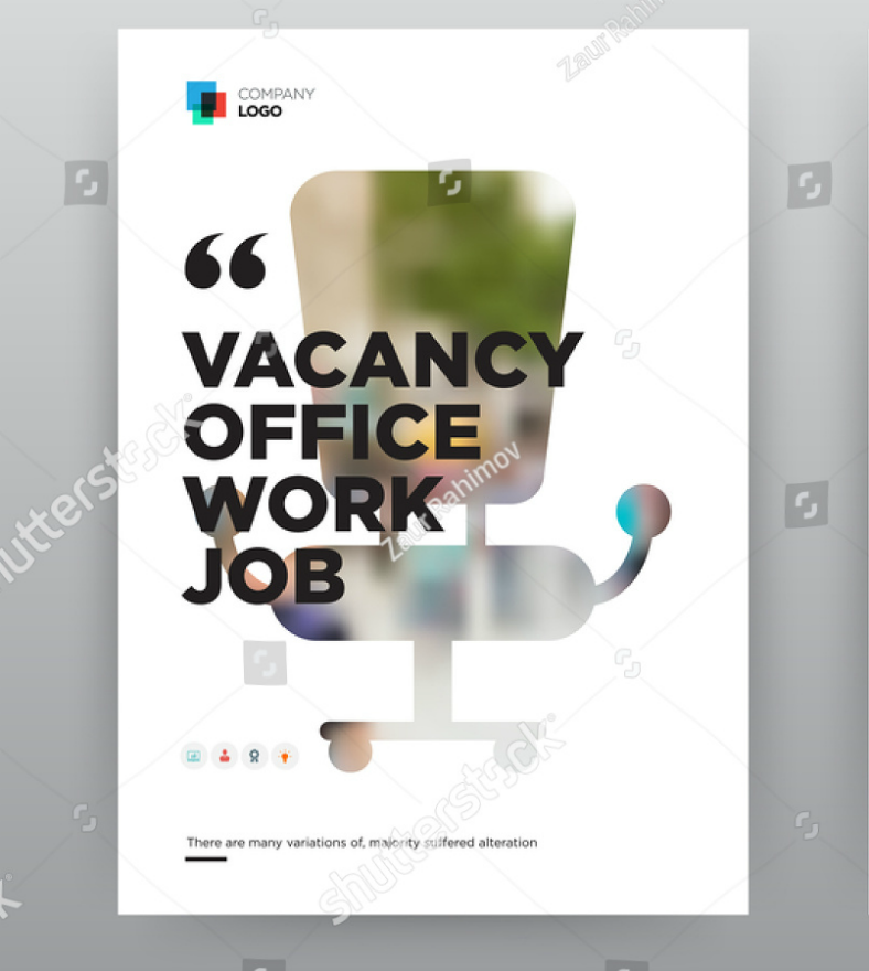 minimalist window styled job flyer template 788x880