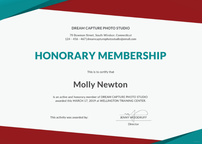 Modern Colored Honorary Membership Certificate