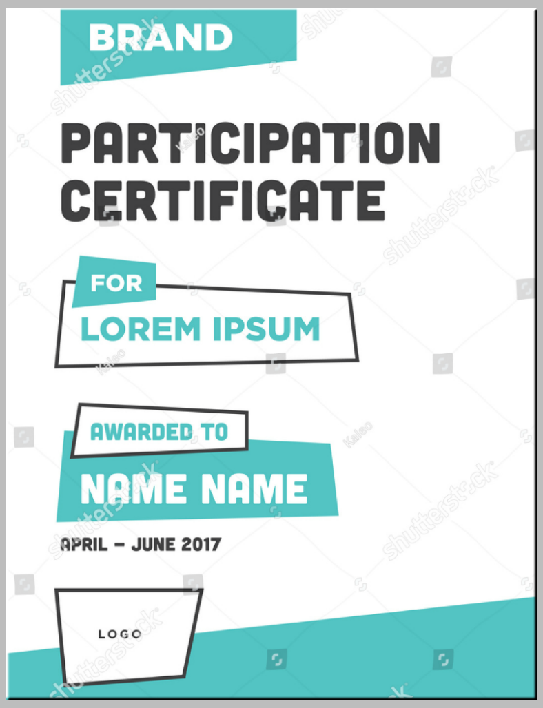 Modern Concept Participation Certificate Template