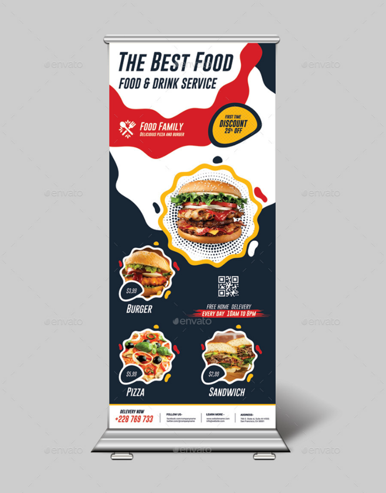 Modern Fastfood Rollup Banner Template