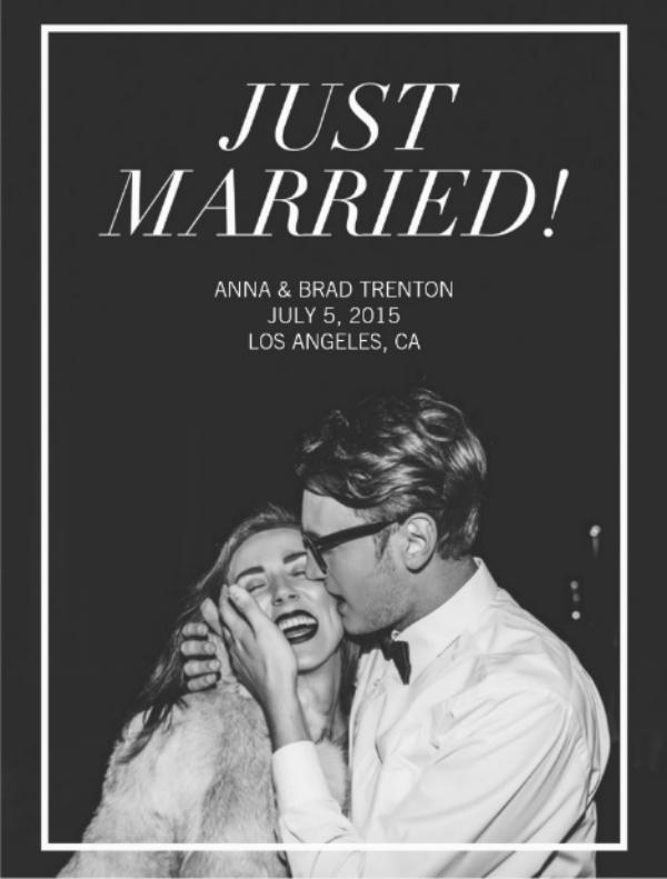 Modern Photo Wedding Postcard Template