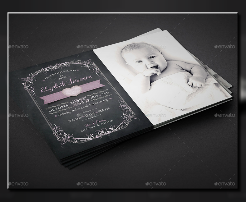 monochrome baby announcement postcard template 788x650