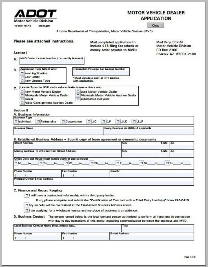 motor vehicle dealer application form template