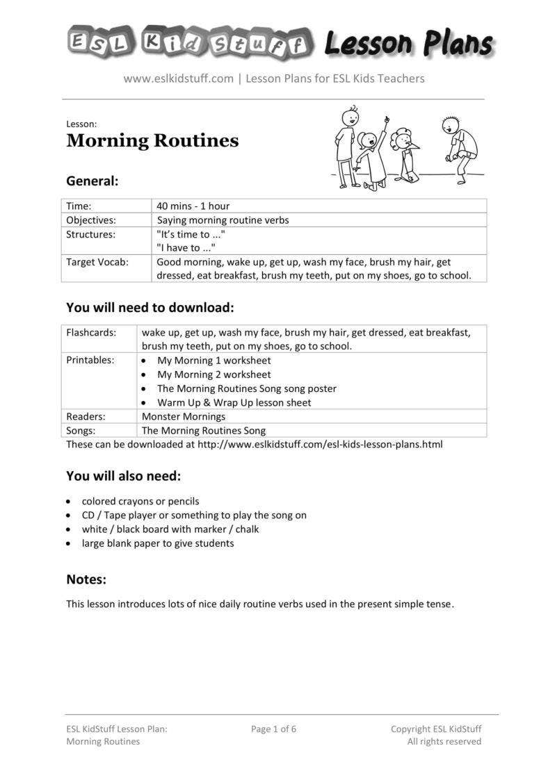 Morning Routine Planner Sample
