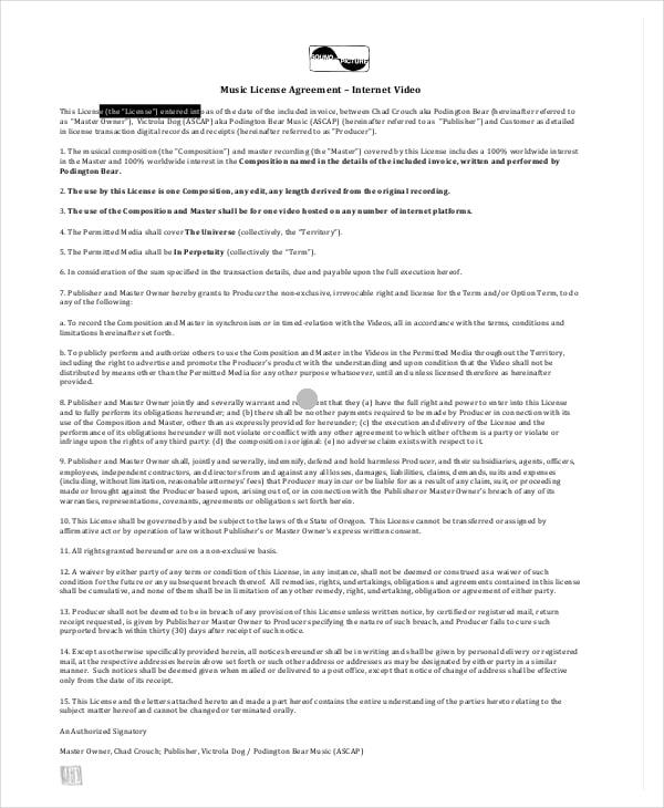 music license agreement sample