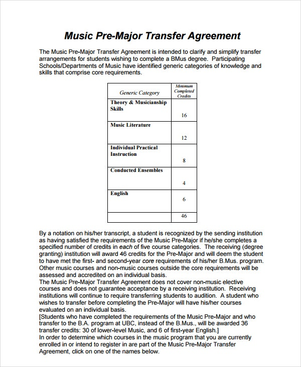music pre major transfer agreement