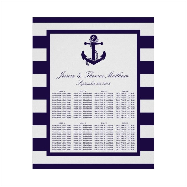 Nautical Navy seating Chart Sample