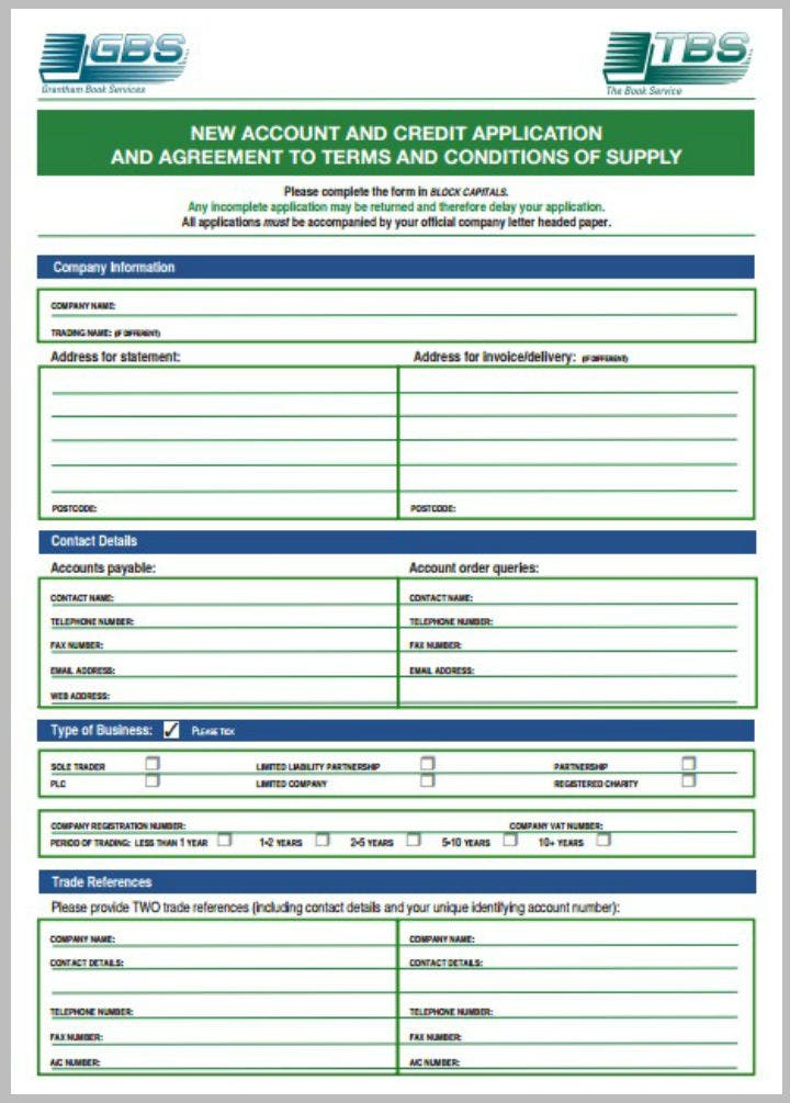 new account application form template - 8 credit application form templates pdf free