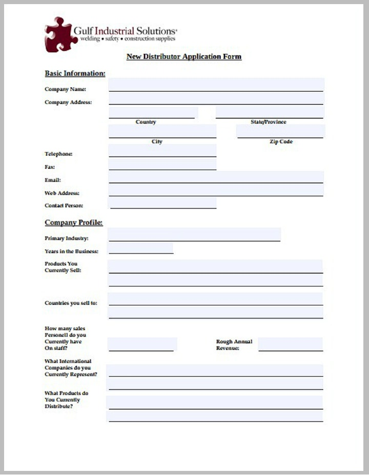new distributor application form template