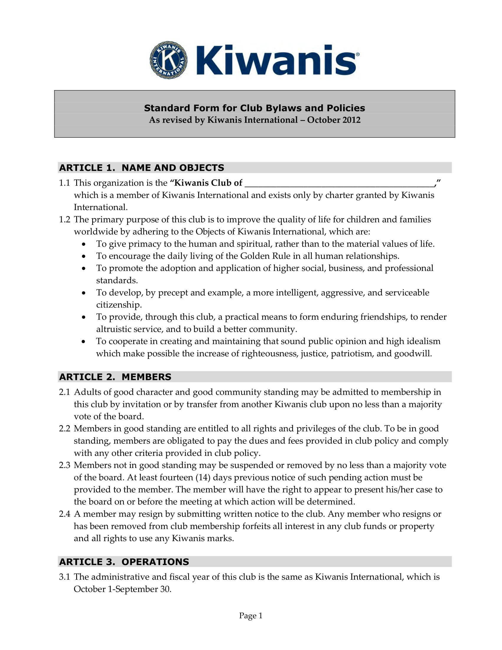 Club Bylaws Template Barca Selphee Co
