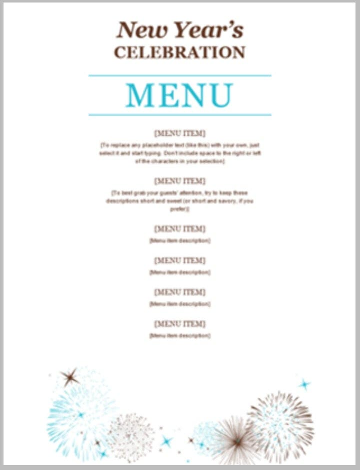 new-years-party-free-menu-template