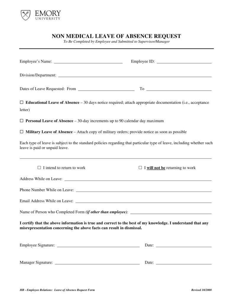 Non medical leave request form