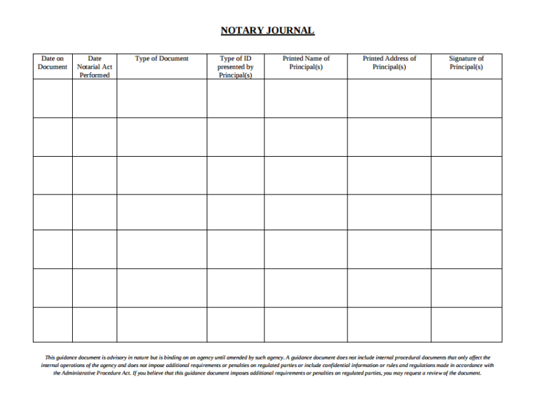 Notary Journal Template