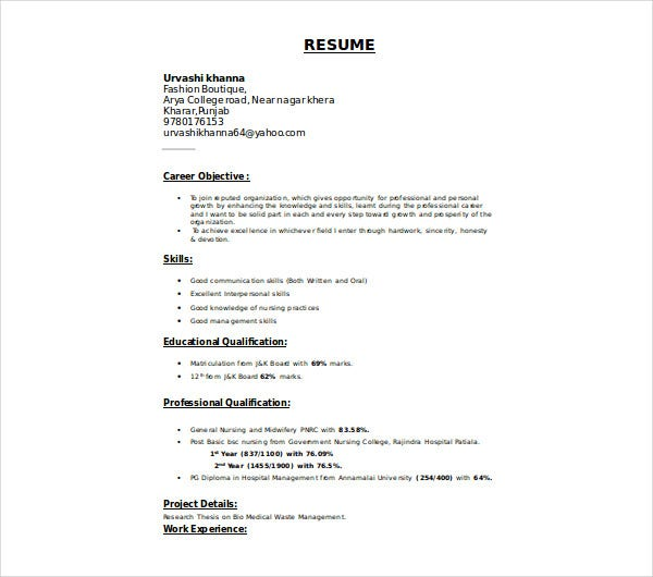 nurse fresher resume