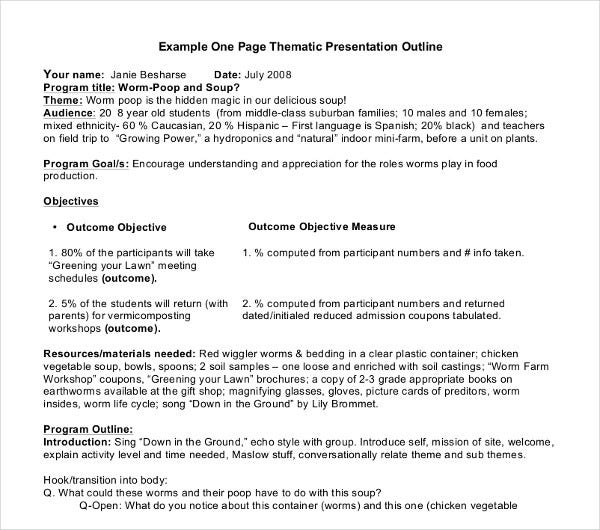 one page thematic presentation outline